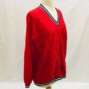 NWT Tommy Hilfiger Sz M Top Lace Eyelits Red L/S